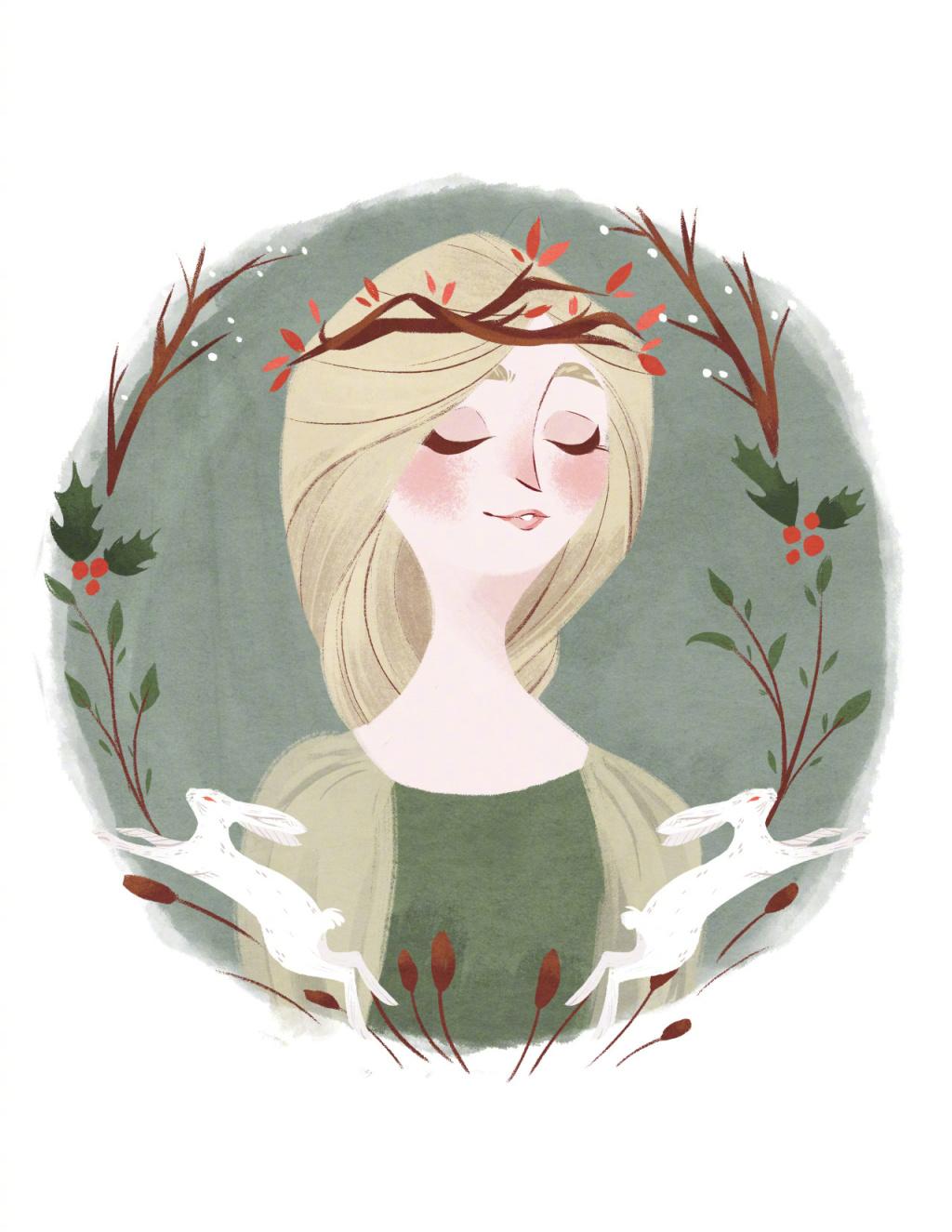 女孩形象插画设计
