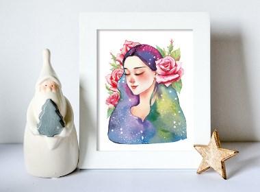 玫瑰鲜花酒包装插画