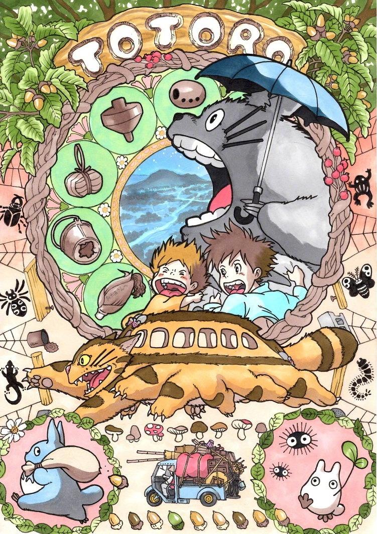 满满的宫崎骏人物插画海报