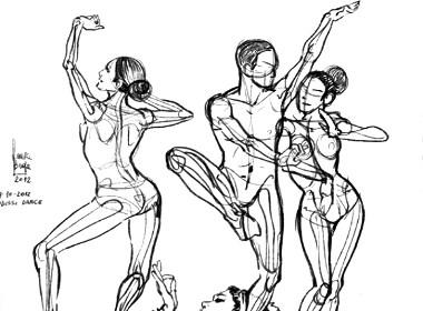 人体动态手绘线稿参考效果;