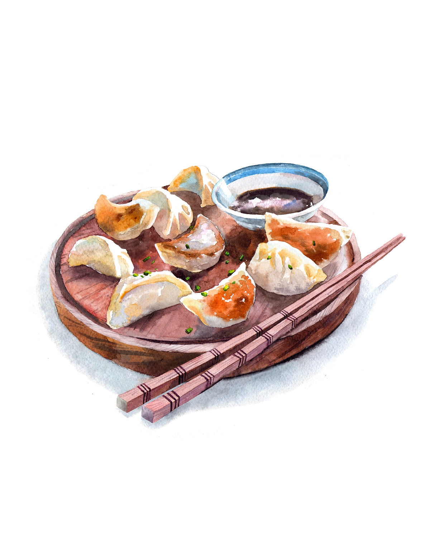 食物水彩插画