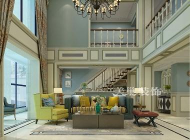 有色地质家园别墅大宅280平美式乡村风格装修案例
