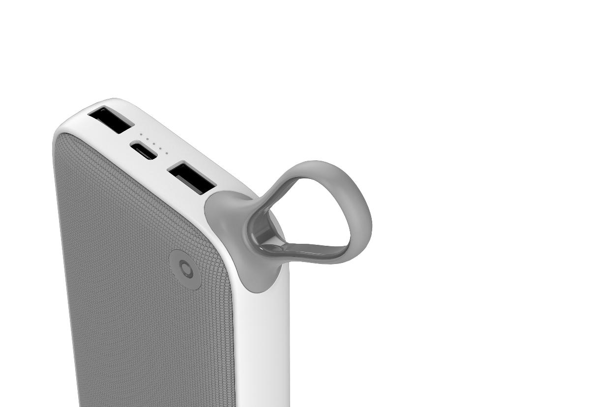 倍思劲能量QC3.0快充三输出挂绳式移动电源