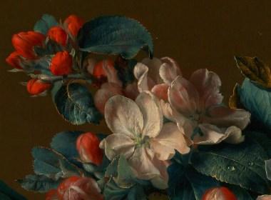 17世纪荷兰花绘大师Jan van Huysum油画作品的细节