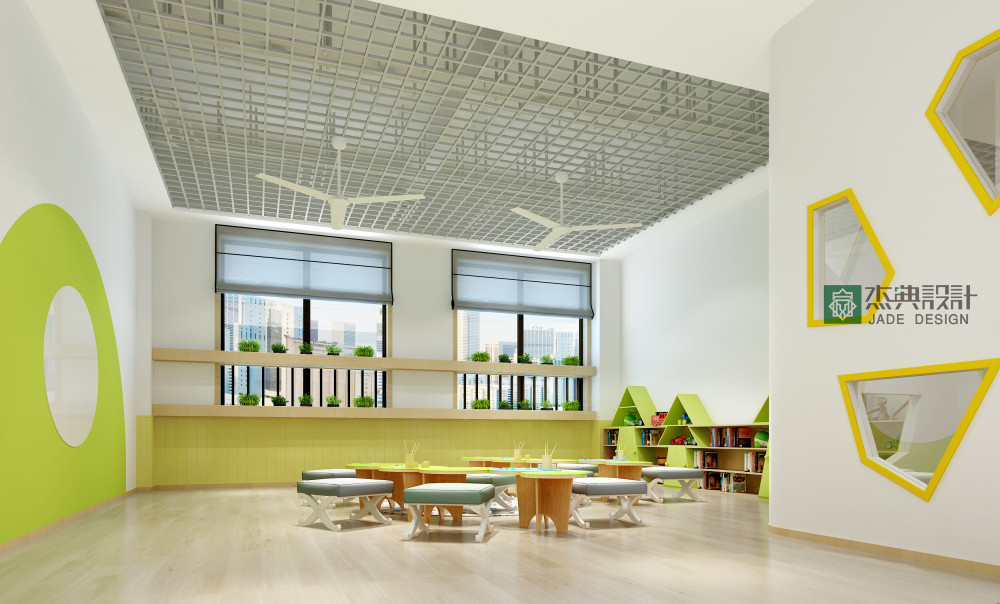 杰典设计,教育机构,张家港慧成教育,幼儿园设计,室内设计,大厅设计