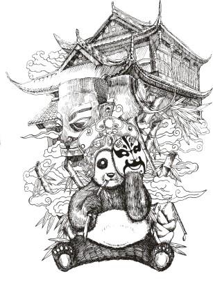 四川省泸州唐人酒业川铺子啤酒手绘包装设计