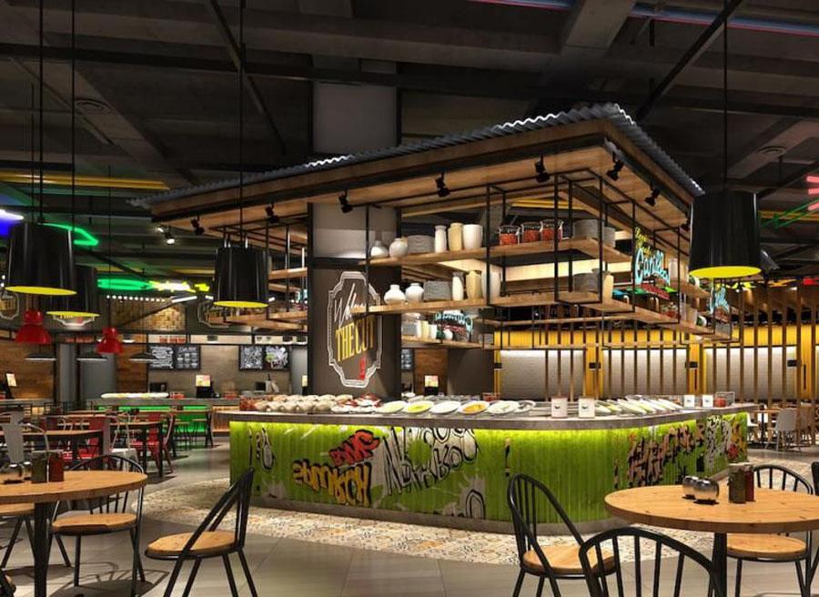 美食广场设计案例效果图图片