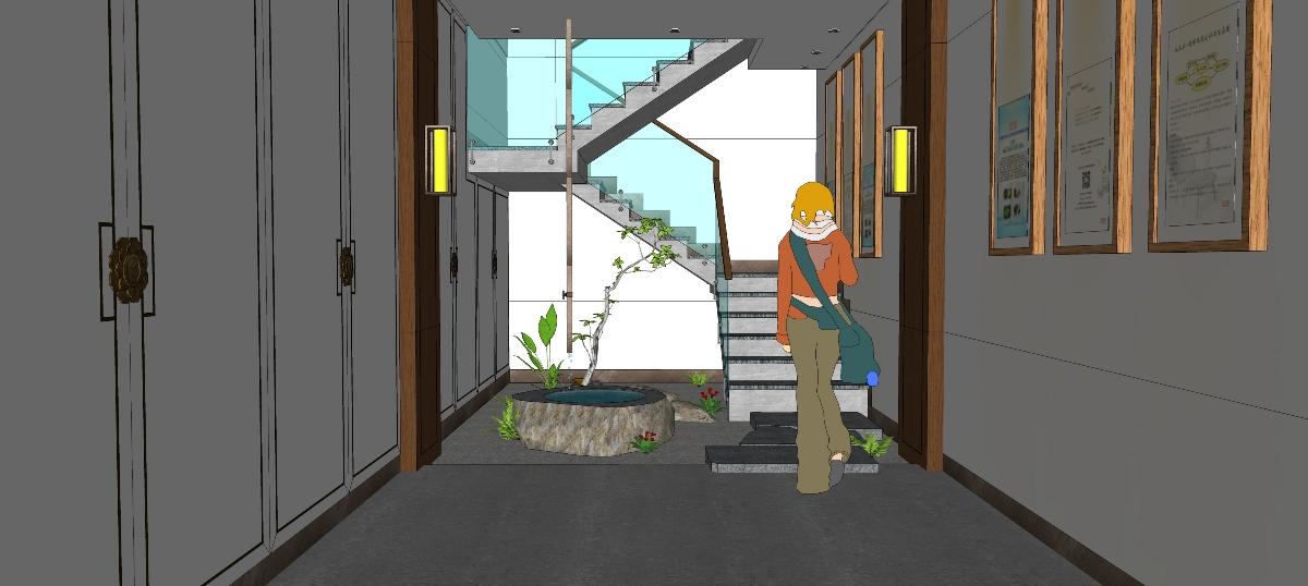 庭院景观及室内草图01