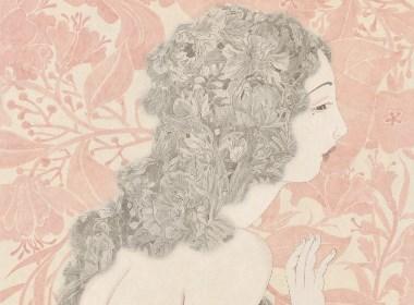 纸本水墨创作《花间》