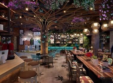 蝶彩咖啡厅-咖啡厅设计装修施工公司-古兰装饰公司