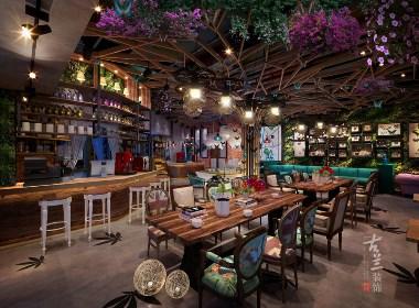 成都主题咖啡厅装修设计案例赏析:成都蝶彩咖啡厅|古兰作品