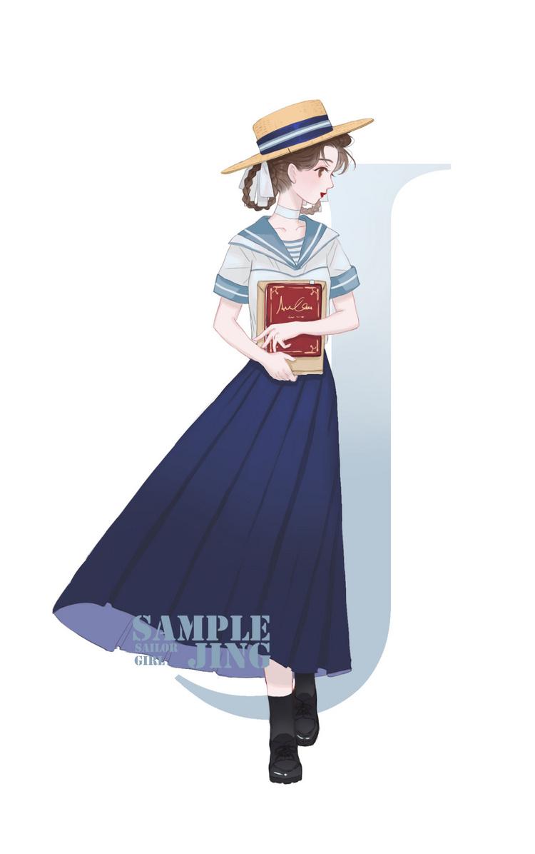 水手服插画设计