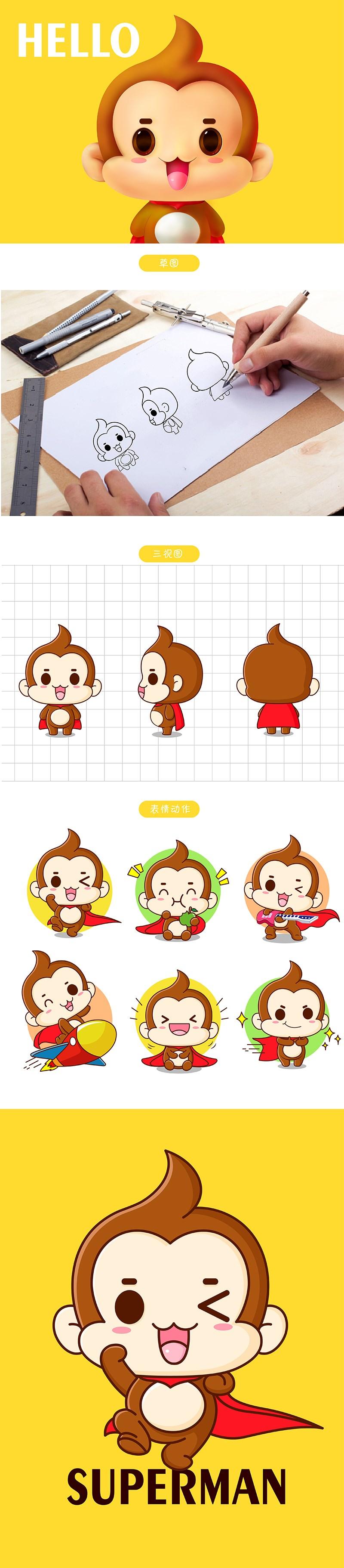 Meekey吉祥物卡通形象设计微信表情包gif茁茁猫设计