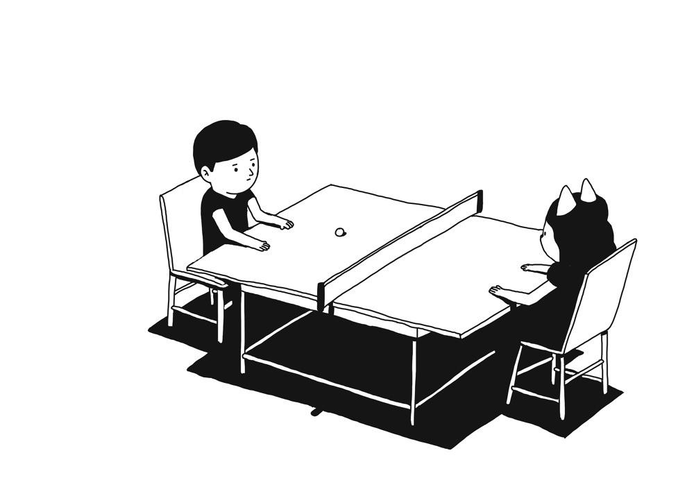 黑白简约插画