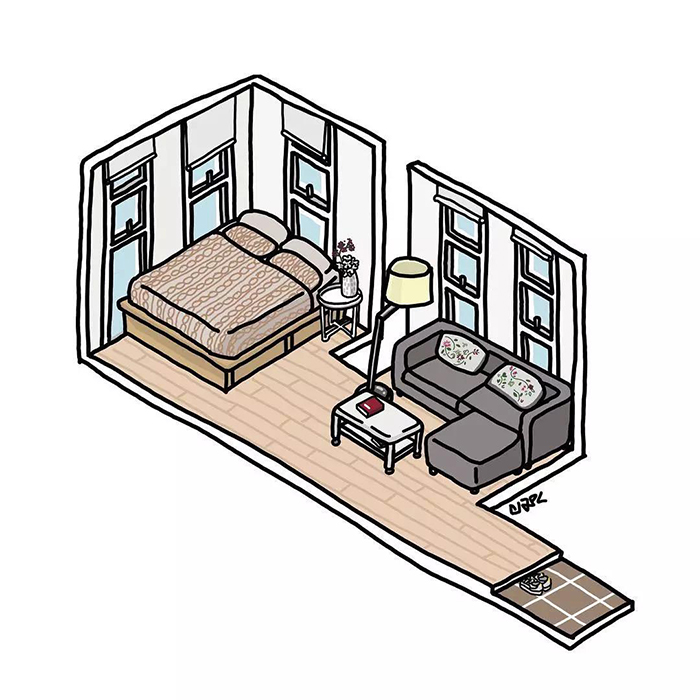 独居生活日常插画设计