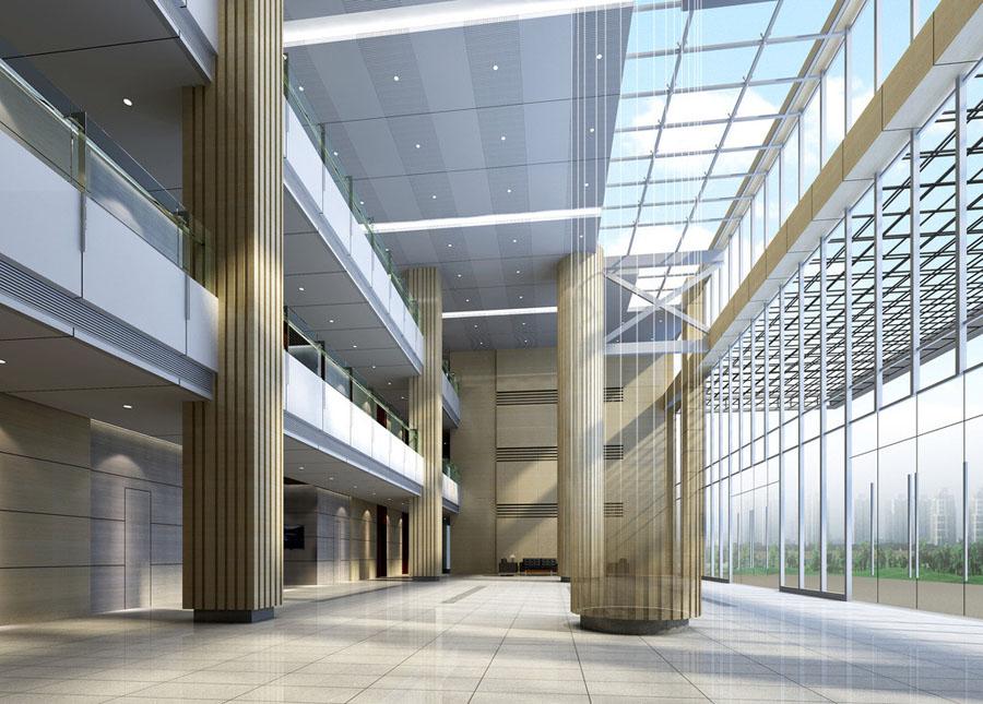 工装大厅办公楼大厅大厅效果图洞石大厅外景大堂外景大门