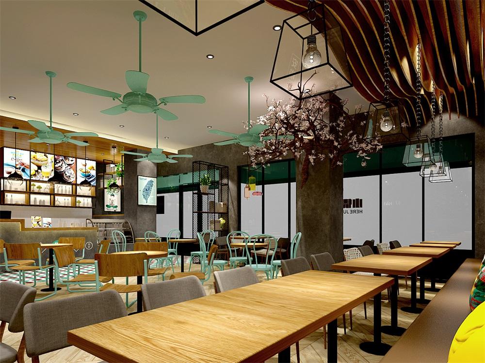 收银台可以面向消费人群,上面展示一些甜品食物相关的图片介绍.