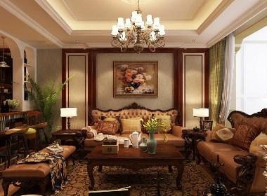 石家庄众美凤凰城180平米装修设计效果,美式风格