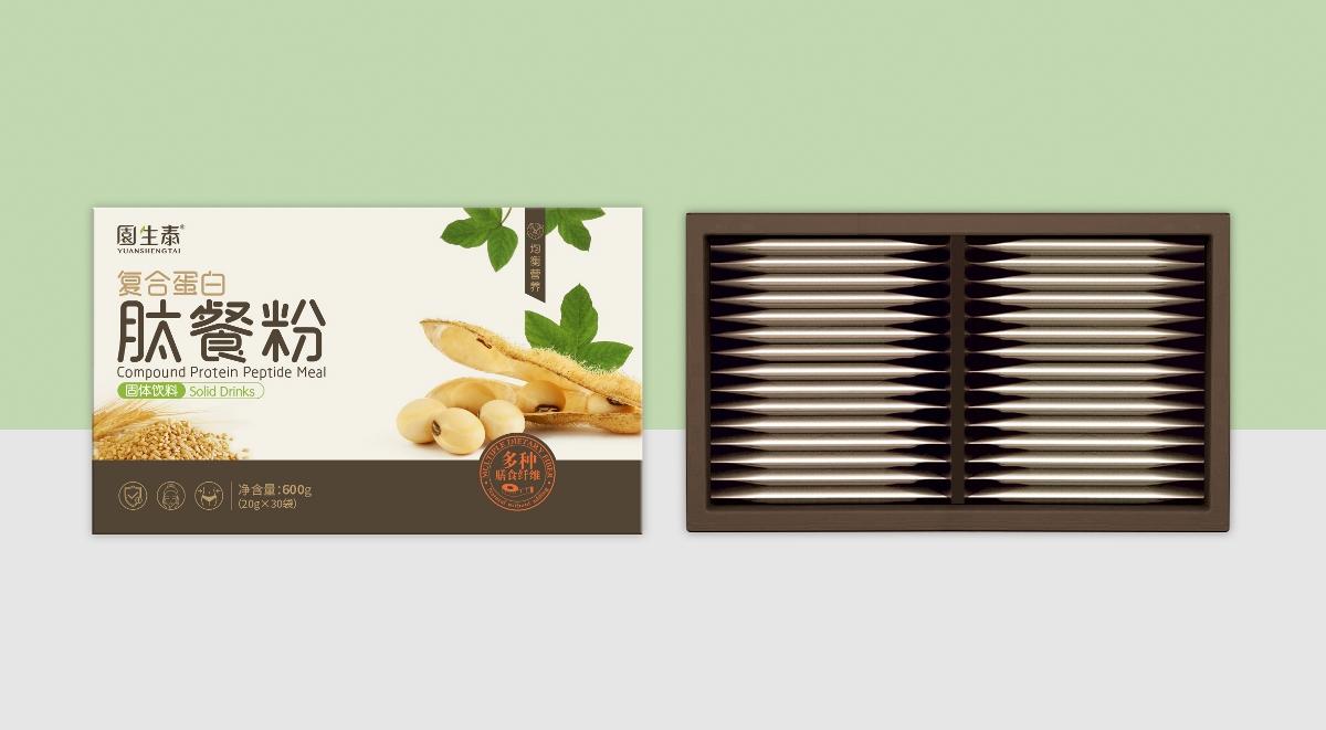 园生态复合蛋白肽餐粉包装设计