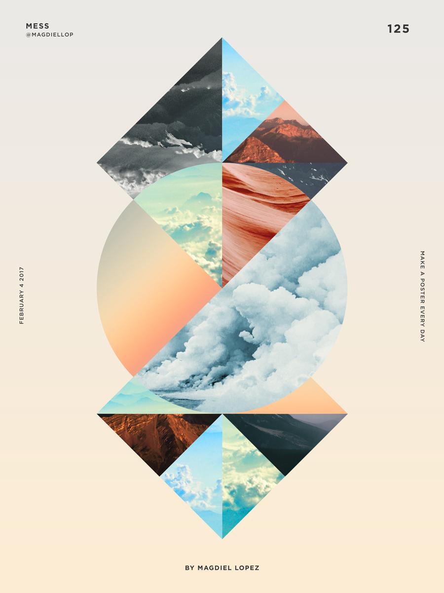 自然风景搭配出色彩海报