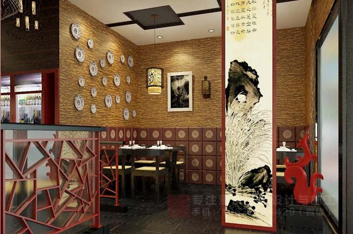 重庆私房菜馆川菜店装修设计效果图「重庆观景装饰」
