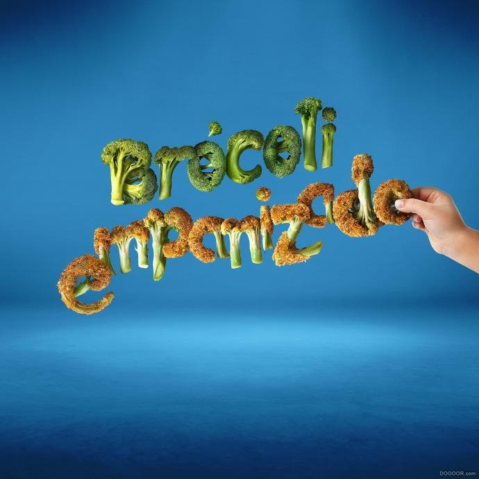 精美蔬菜海鲜水果组合艺术字