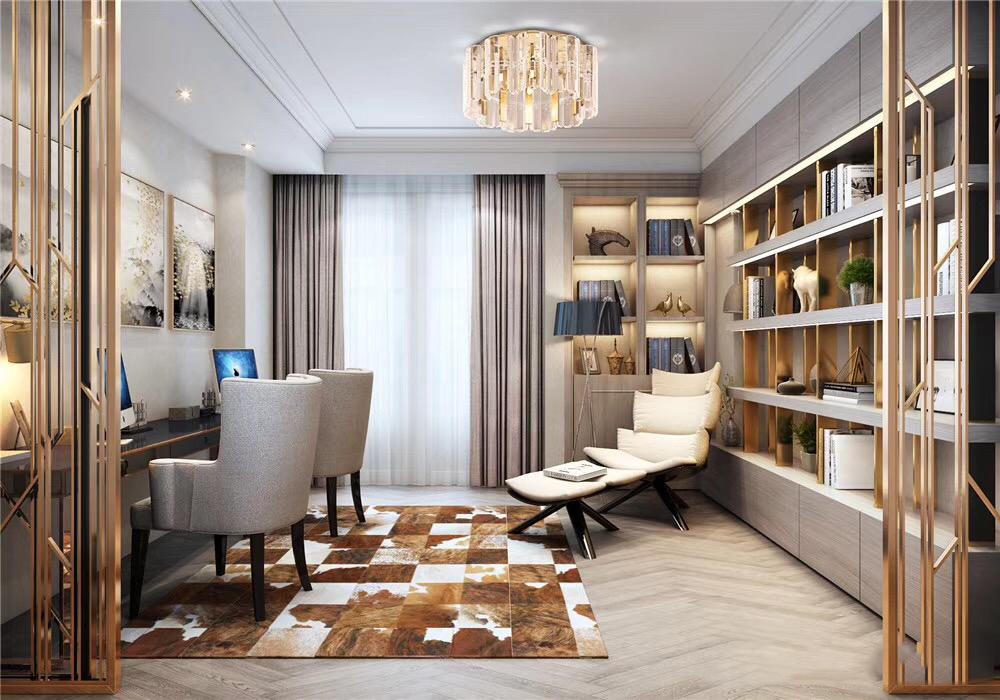 正商红河谷350平法式轻奢风格别墅装修效果图欣赏---书房图片
