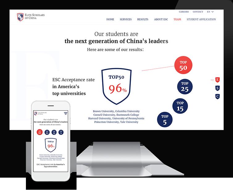 Flow Asia为ESC中国精英学者提供网站设计与网站建设
