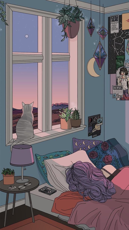 女孩房间插画欣赏