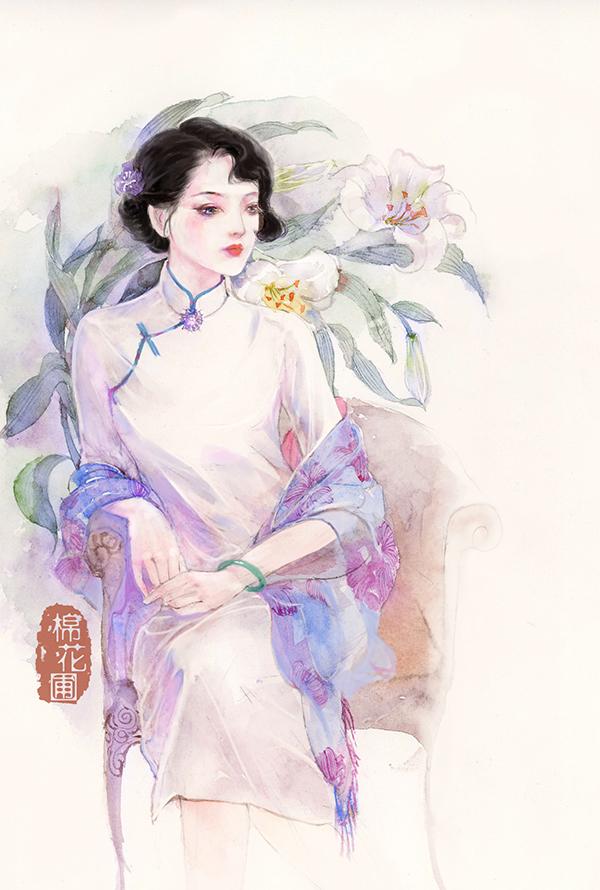 水彩女孩插画欣赏