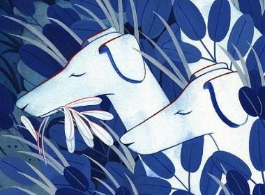 蓝色水花插画