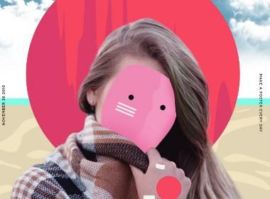 佩戴色彩面具的少女
