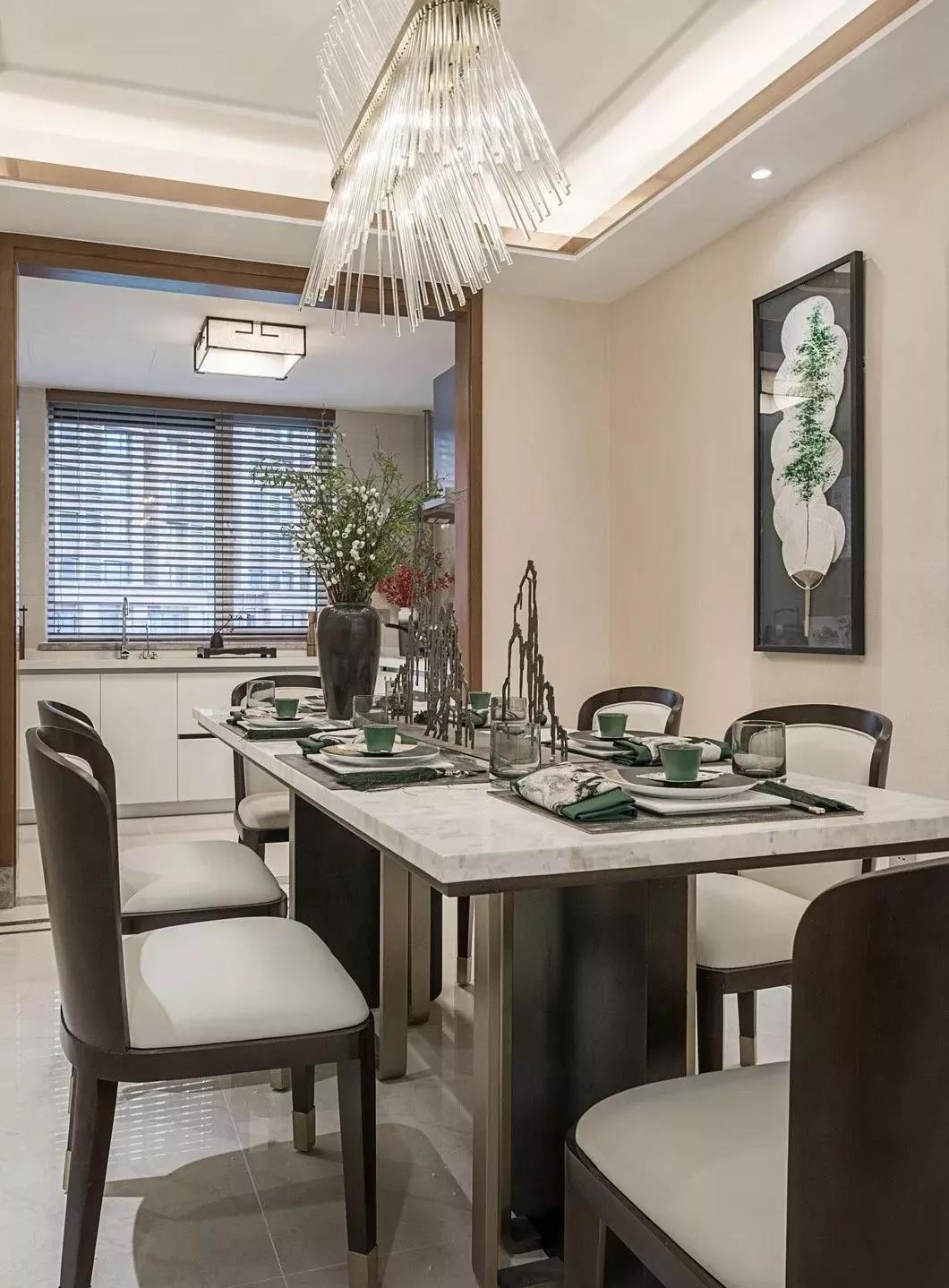 正商林语溪岸三室两厅125平现代中式风格装修案例欣赏