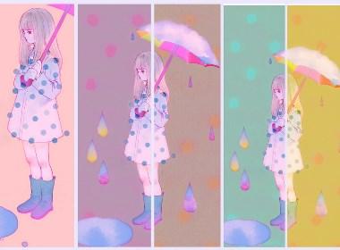 彩虹雨水插画欣赏