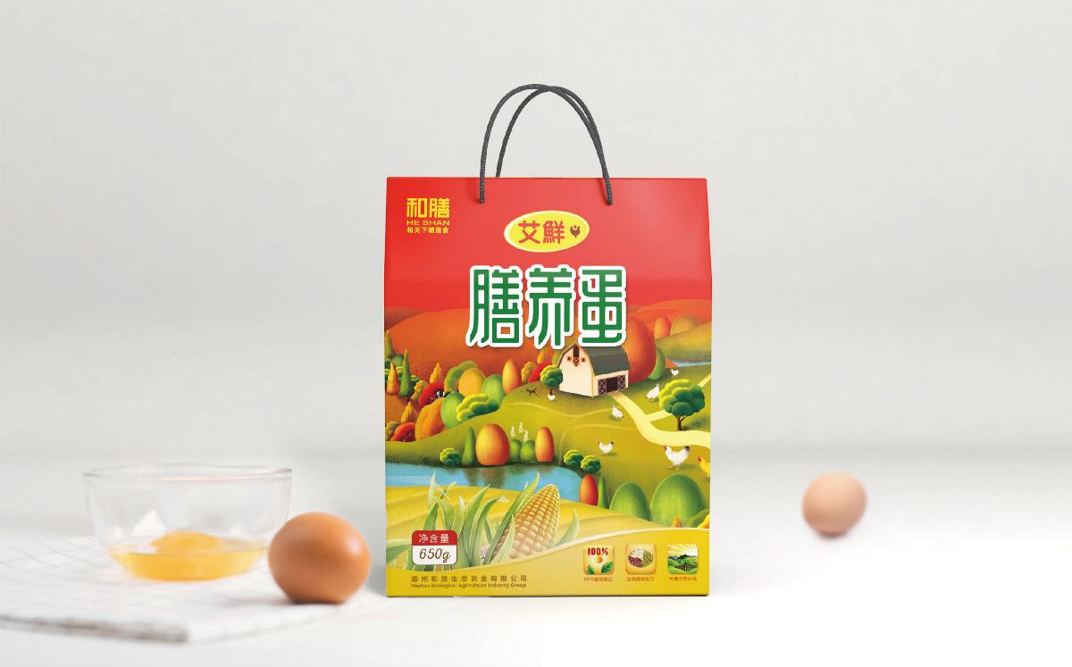 和善鸡蛋品牌包装插画