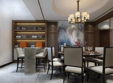 郑州思念果岭180平新中式风格四居室装修效果图欣赏