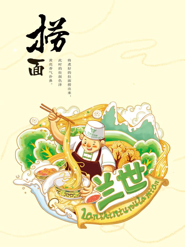 兰世牛肉拉面品牌插画