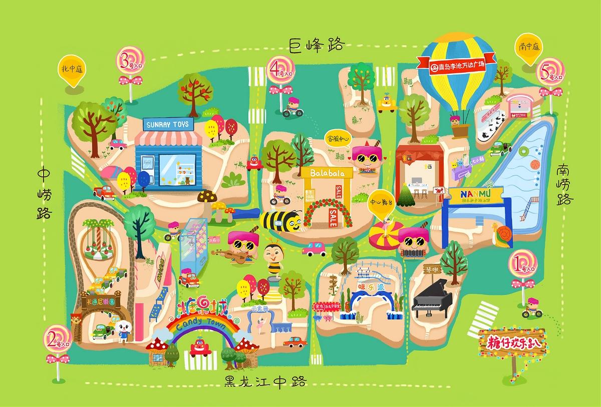 青岛李沧万达糖果城1周年活动主视觉相关插画及手绘地图