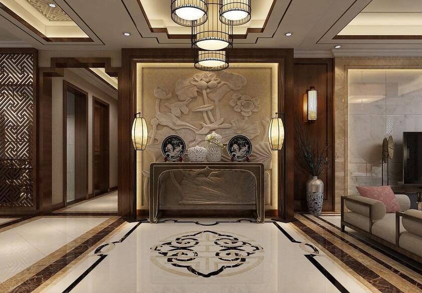 郑州海马公园大平层210平新中式风格装修效果图欣赏