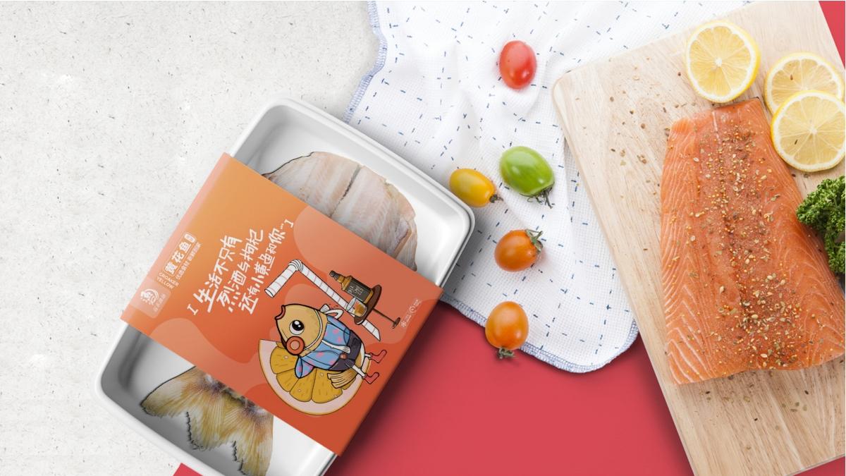 原创插画产品包装设计&品牌包装&生鲜包装&鱼包装&黄花鱼产品包装案例