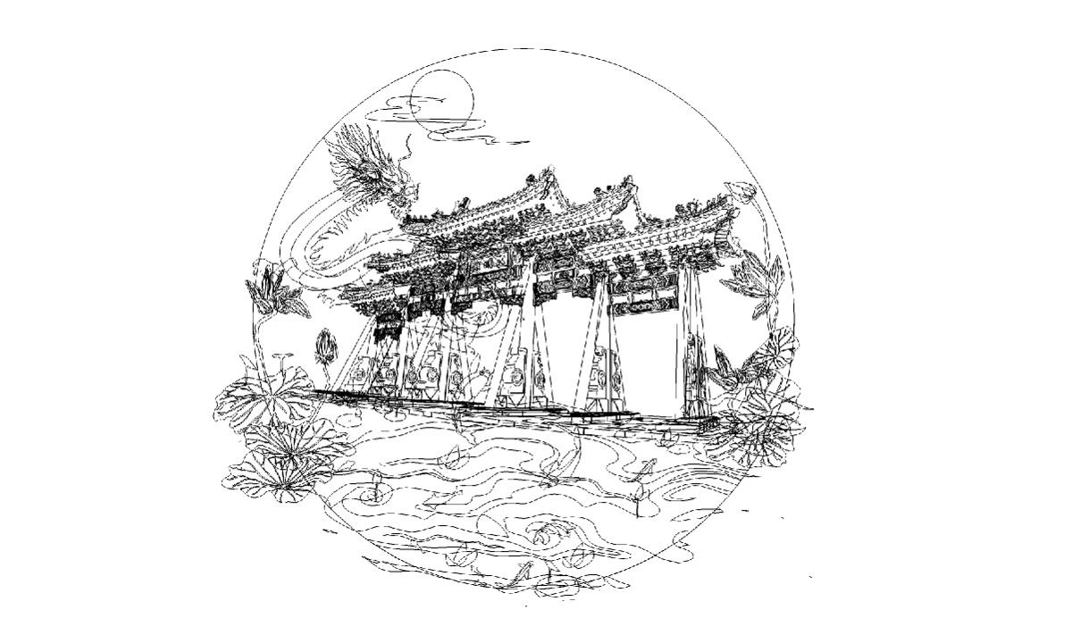 济南插画趵突泉/大明湖/泉城广场/济南插画师/手绘济南