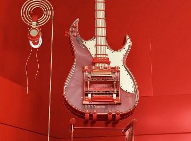 C4D建模奢华小吉他