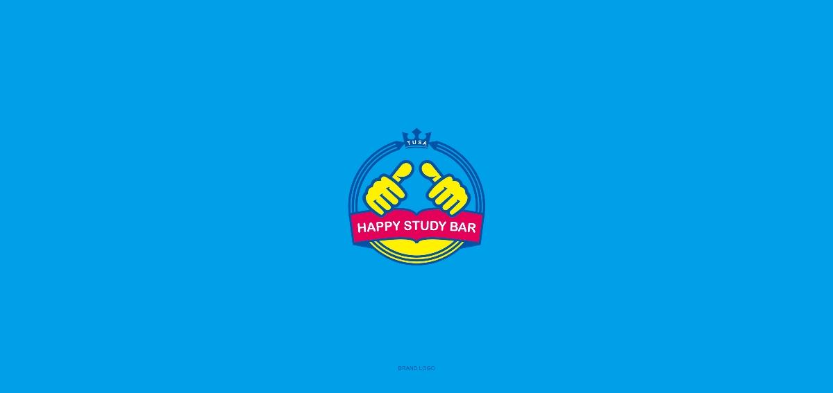 快乐学吧教育品牌logo形象vis设计