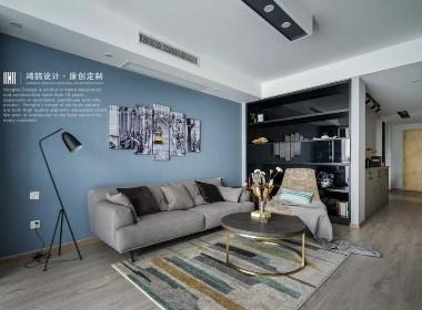 芜湖鸿鹄设计|他家的北欧谜夜蓝客厅,尽揽浦江夜景