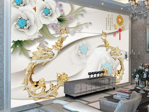 中式墙面手绘壁画