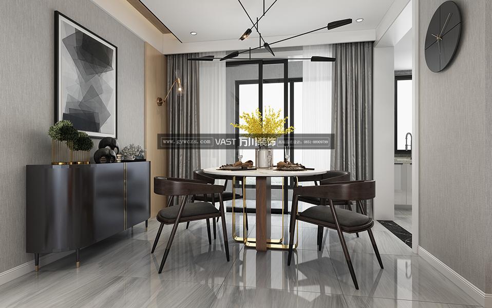 贵阳金融城120平米现代简约风格装修设计效果图-中国