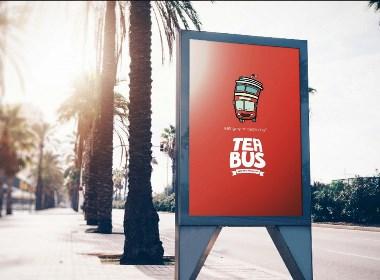 奶茶饮料品牌Logo设计-TEA BUS