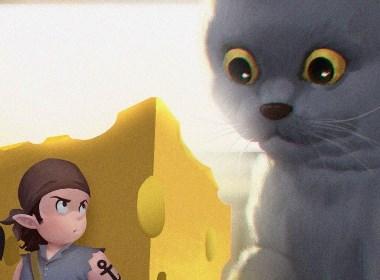 猫与奶酪海盗插画