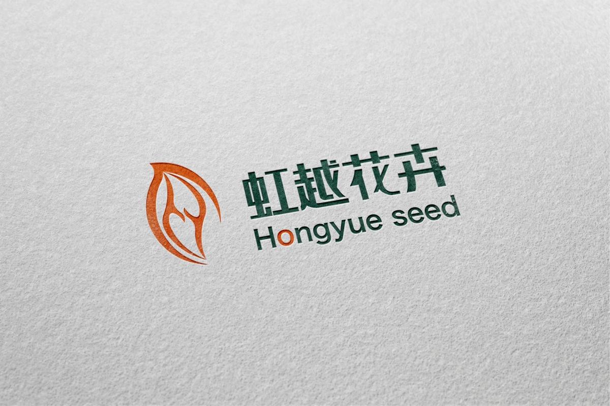 虹越花卉logo设计