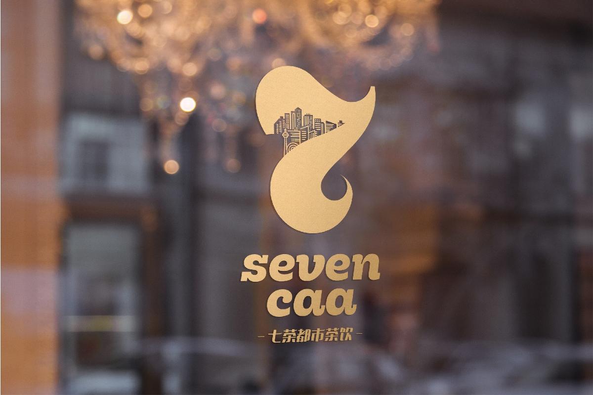 奶茶品牌Logo设计-七茶都市茶饮